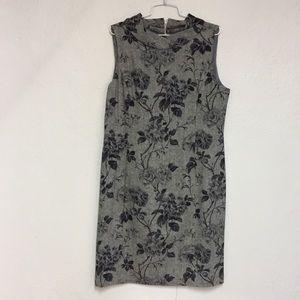 Talbots Floral Print Grey Wool Dress, 16P